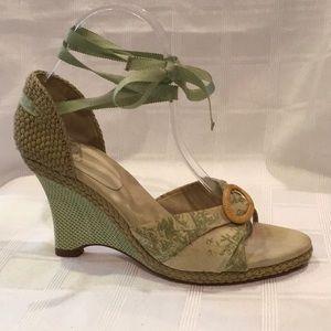 Cole Haan Stansie Green & Cream Wedge Sandals